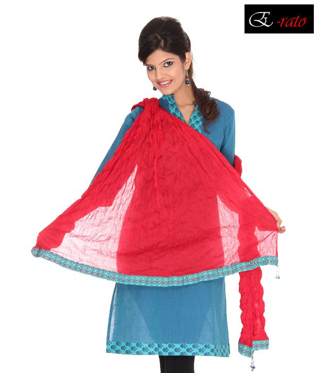 Erato Red Crinkle Cotton Dupatta