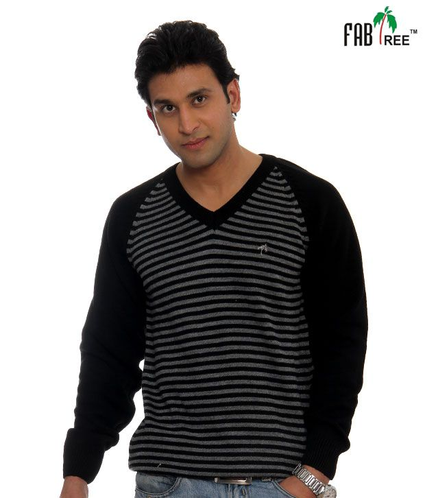 Fabtree Black Striped Pullover-SK-512-BK