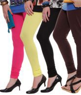 Rham Black-Brown-Fuschia Pink-Lemon Yellow Pack of 4 Leggings