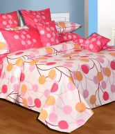 Salona Bichona Pink Treat Double Bed Sheet With 2 Pillow Covers