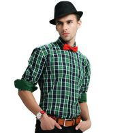 Cairon Distinguished Green and Blue Checkered Shirt