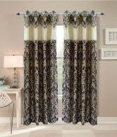 Homefab India Brown Embroidery Polyester 2 Curtains Set of 2 Curtains