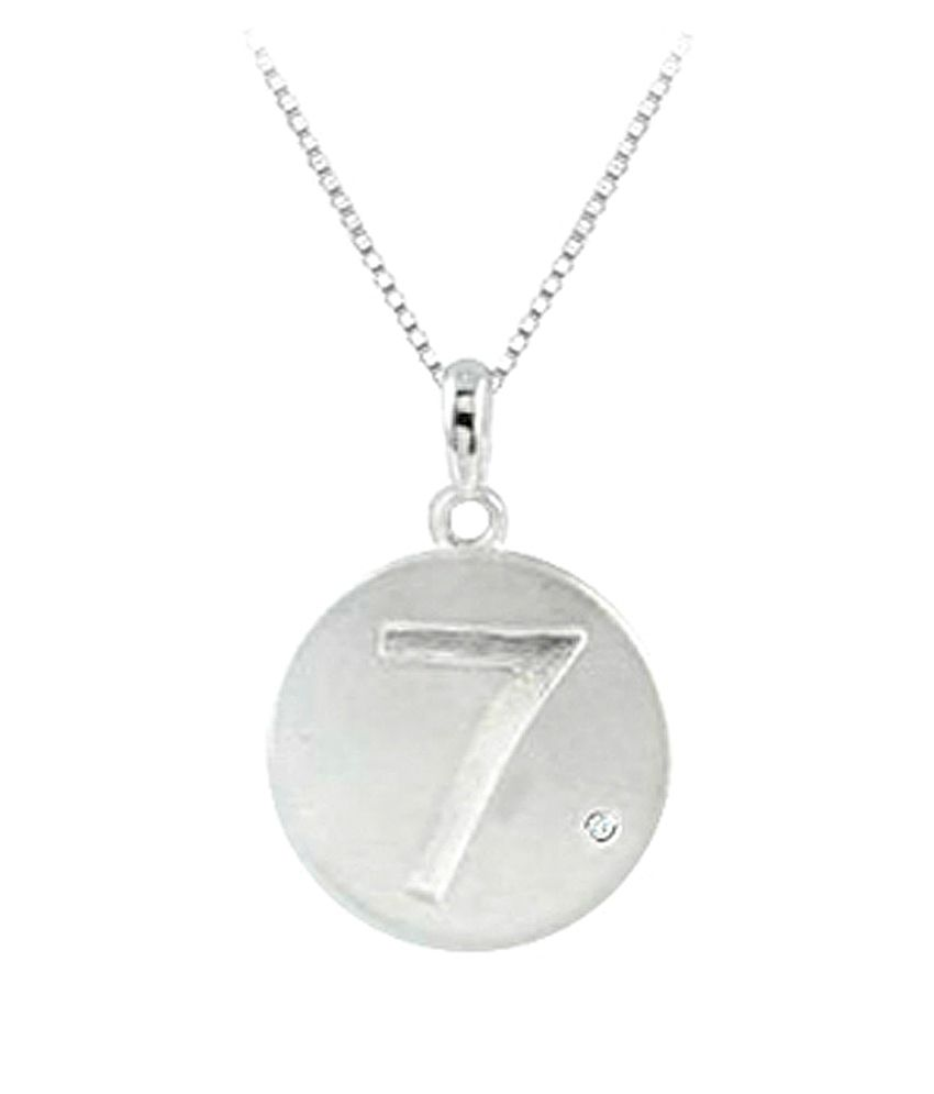 engraved number 7 disc pendant with single accent