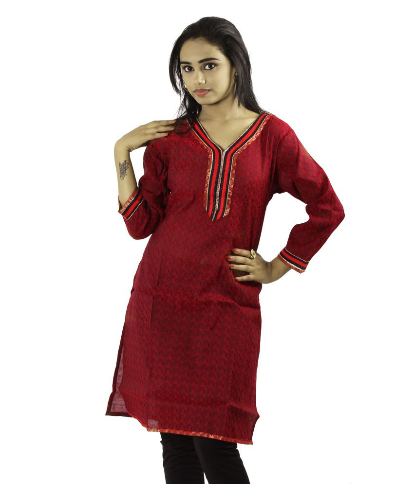 Fashion Fashion Freaks Red Cotton Printed V-Neck Kurti