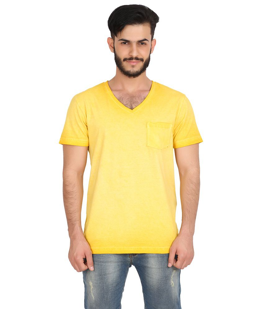 Goflaunt Yellow Cotton Blend Half Sleeves V Neck T Shirt