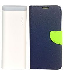 Gatasmay  Power Bank 10000 MAh- White With Flip Cover For Lenovo A1000