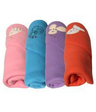 My Newborn Multicolour Polar Fleece Baby Blanket Set Of 4