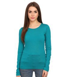 GF And BF Turquoise Cotton Regular Tops