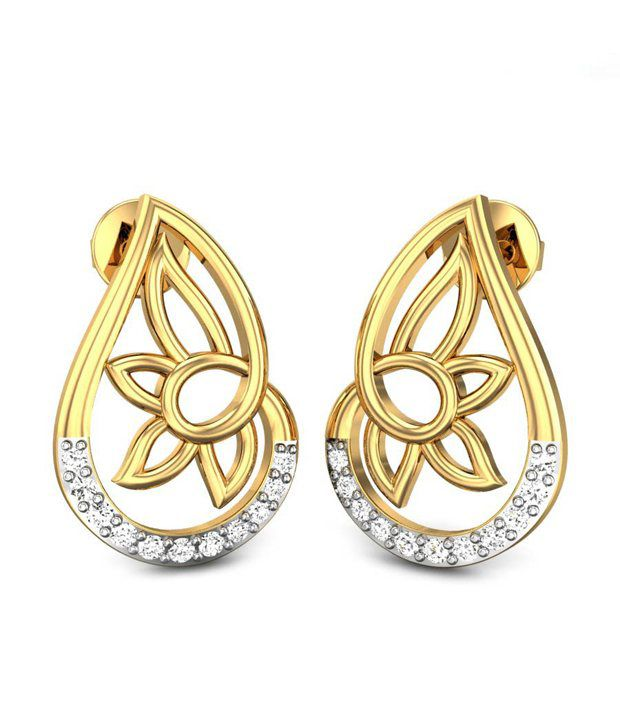 Candere Golden Flower Diamond Earrings Yellow Gold 14K