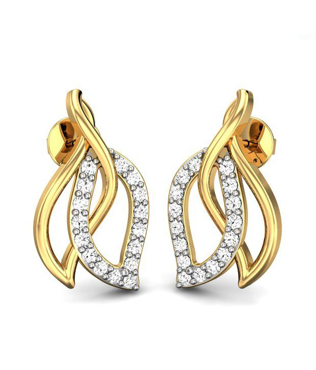 Candere Together Forever Diamond Earrings Yellow Gold 14K