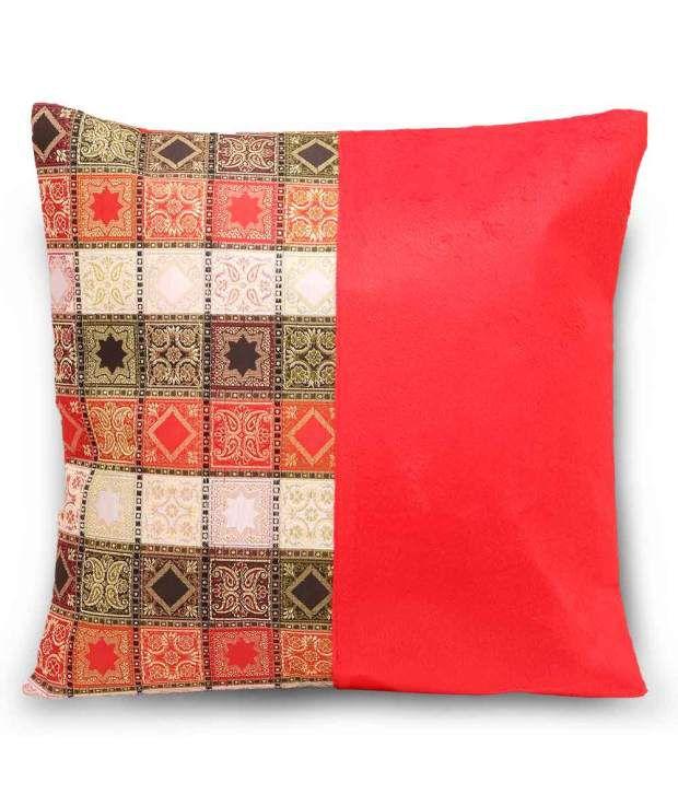 Jaipur Raga Red Cotton Printed Zipper Cushion Cover