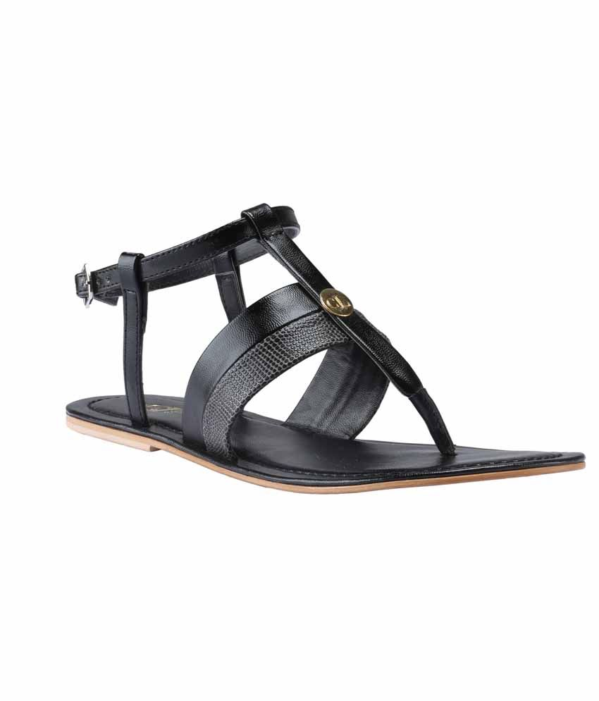 Claude Lorrain Black Faux Leather Daily Sandal