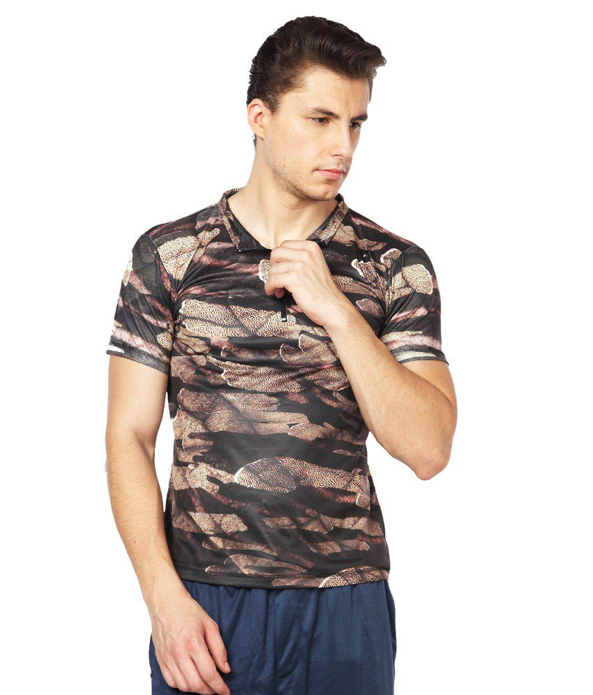 Difference of Opinion Brown Polyester Fitness T - Shirt