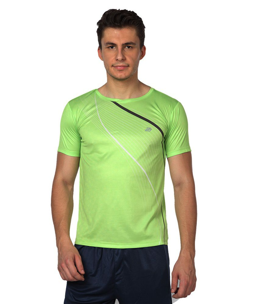Difference of Opinion Green Polyester Fitness T - Shirt