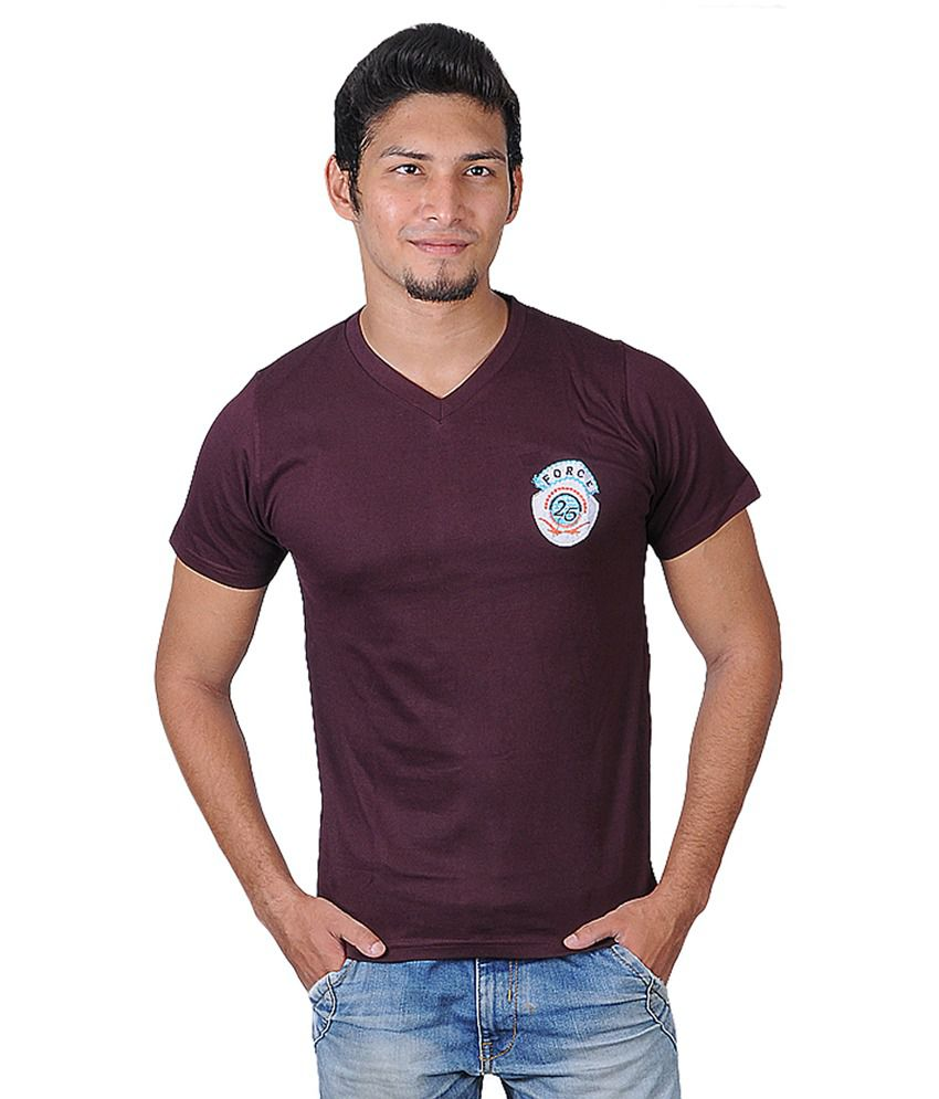 Force Maroon Cotton V-Neck Half Sleeves T-Shirt