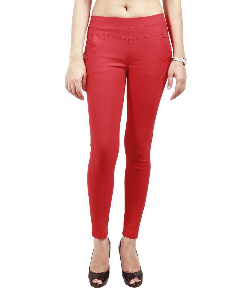 Haniya Red Cotton Lycra Jeggings