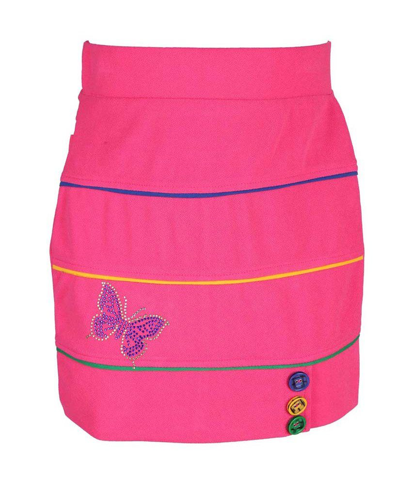 Leichie Pink Synthetic Elastic Skirt