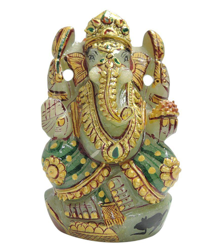 Rashi Ratan Bhagya Green Ganesha Idol with Gold Work