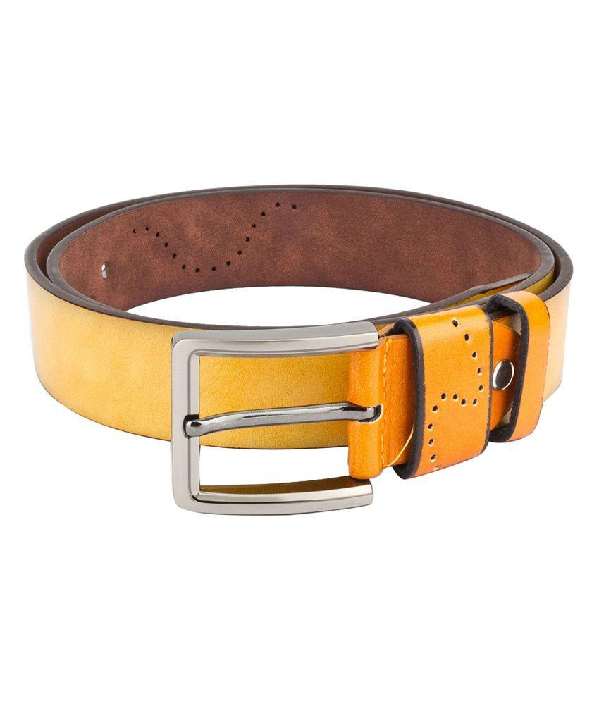 Swiss Design Men Casual Yellow Leatherite Belt - SDBLT-10-YL