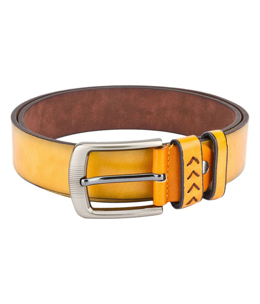 Swiss Design Men Casual Yellow Leatherite Belt - SDBLT-07-YL