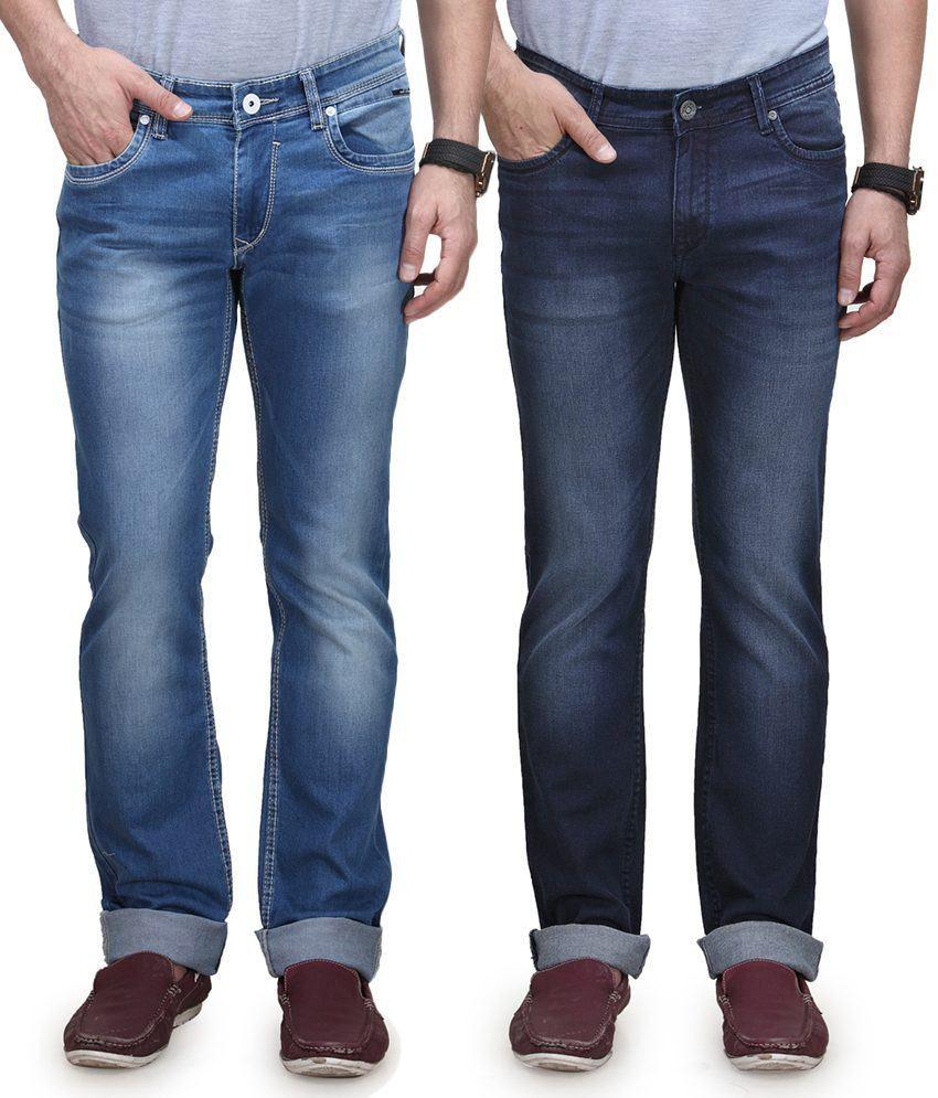 Vintage Blue Blue Cotton Jeans Pack Of 2