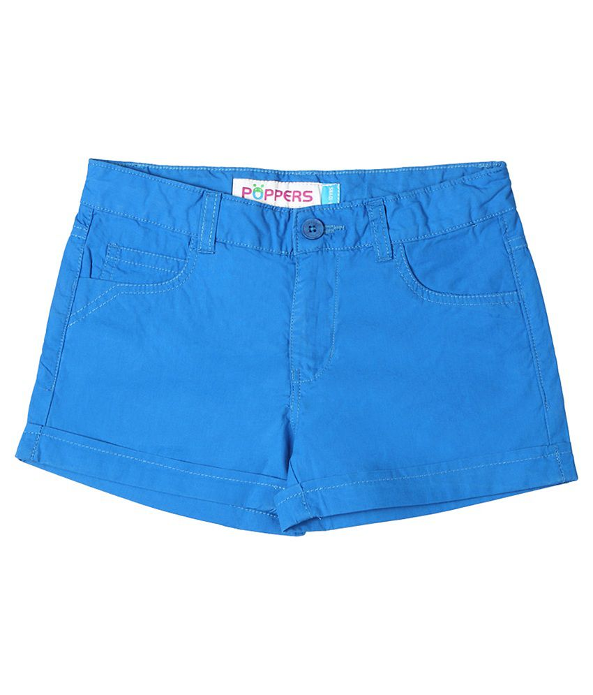 Poppers by Pantaloons 40s Poplin Blue Casual Regular Fit Shorts