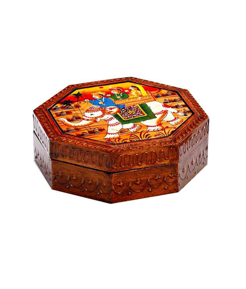 Aapno Rajasthan Handcrafted Wooden Multiutility Box
