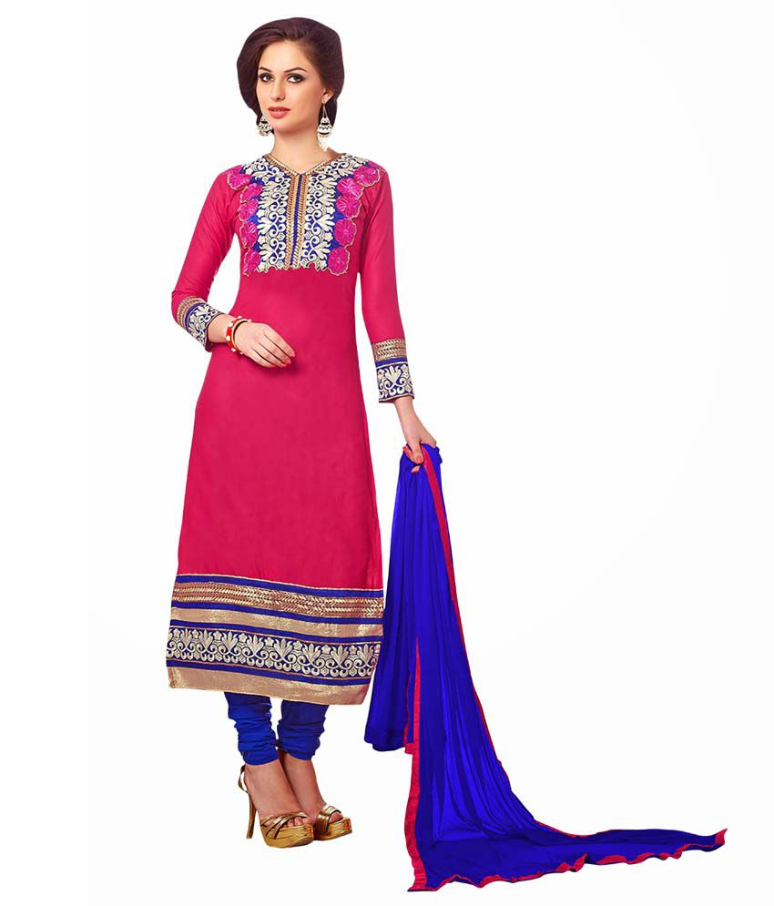 Femeie Apparel NX Pink Chanderi Unstitched Dress Material