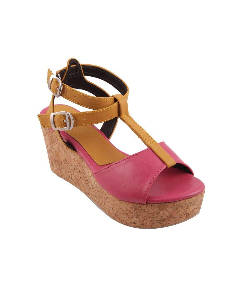 Adorn Pink High Heel Wedges