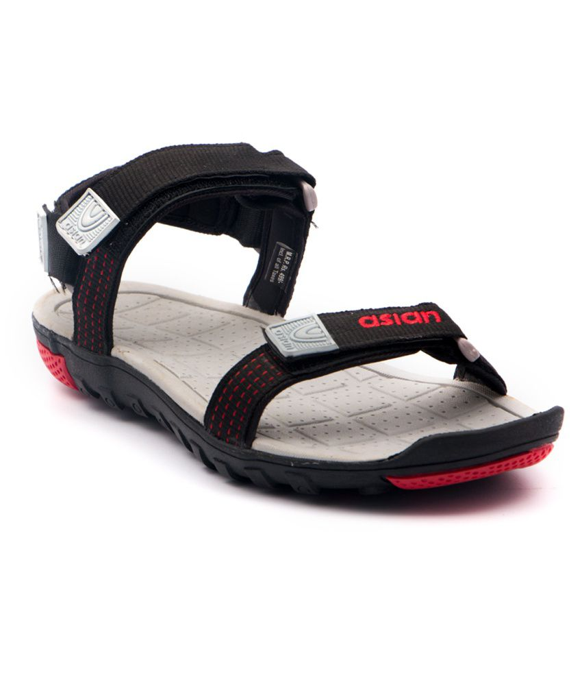 Asian Shoes Black Floater Sandals