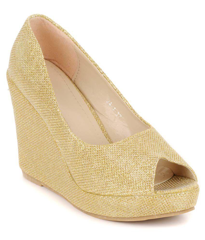 Flat N Heels Gold Faux Leather Peep Toe Medium Heel Wedges