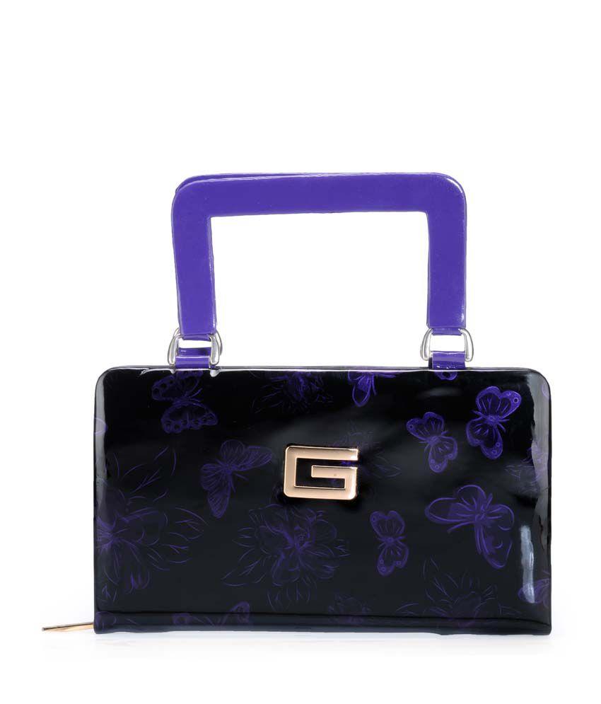 Frosty Fashion Purple P.u. Zip Closure Clutch & Wallet