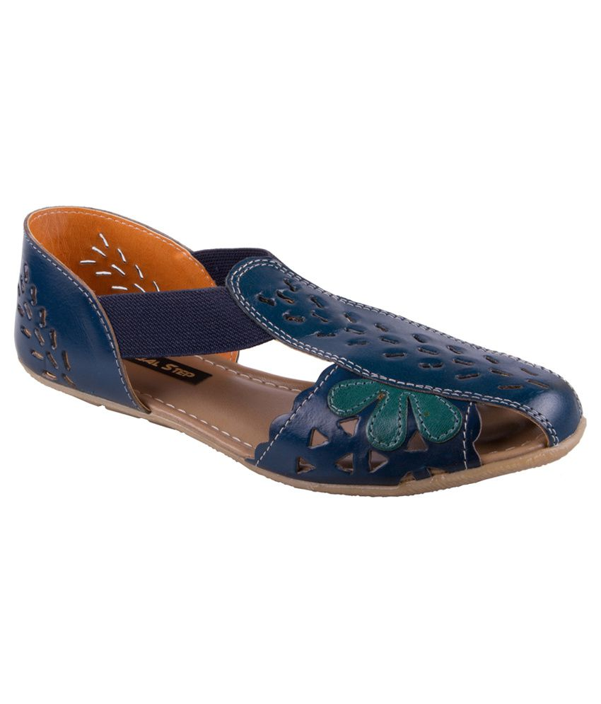 d33e0ac0eb70 Global Step Blue Leather Back Strap Sandal Sandals Price in India- Buy  Global Step Blue Leather Back Strap Sandal Sandals Online at Snapdeal