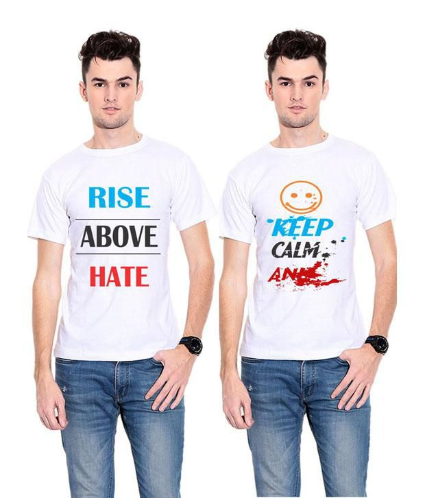 Indian By Thought White Printed Polyester Round Neck T-shirt - Pack Of 2