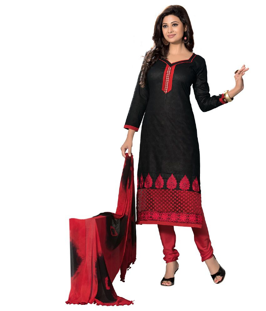 Indian House Black Chanderi Unstitched Dress Material