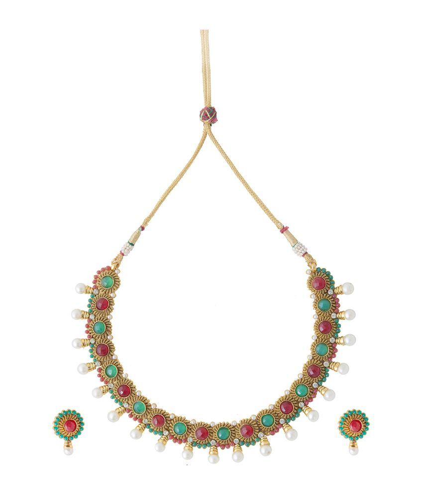 Aaina Traditional Polki Green Copper Necklace Set