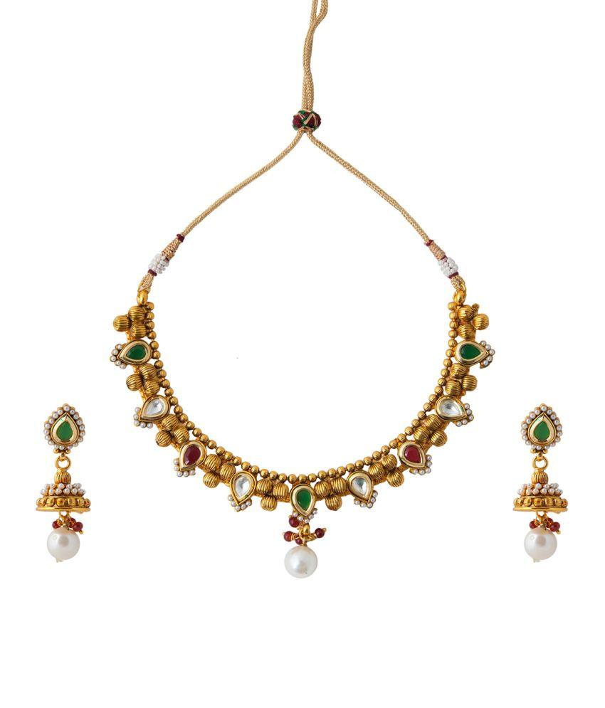Aaina Traditional Polki Multicolour Copper Necklace Set