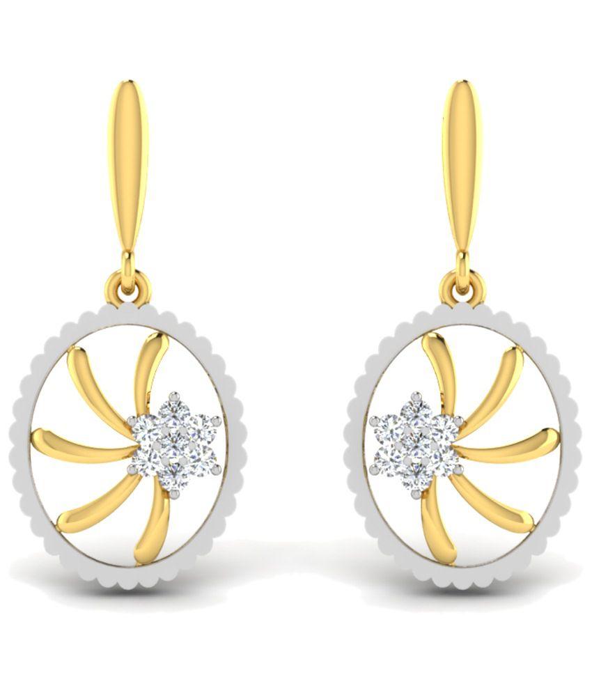 Sparkles 0.14 Ct Diamond & 18 Kt Gold Drop Earrings
