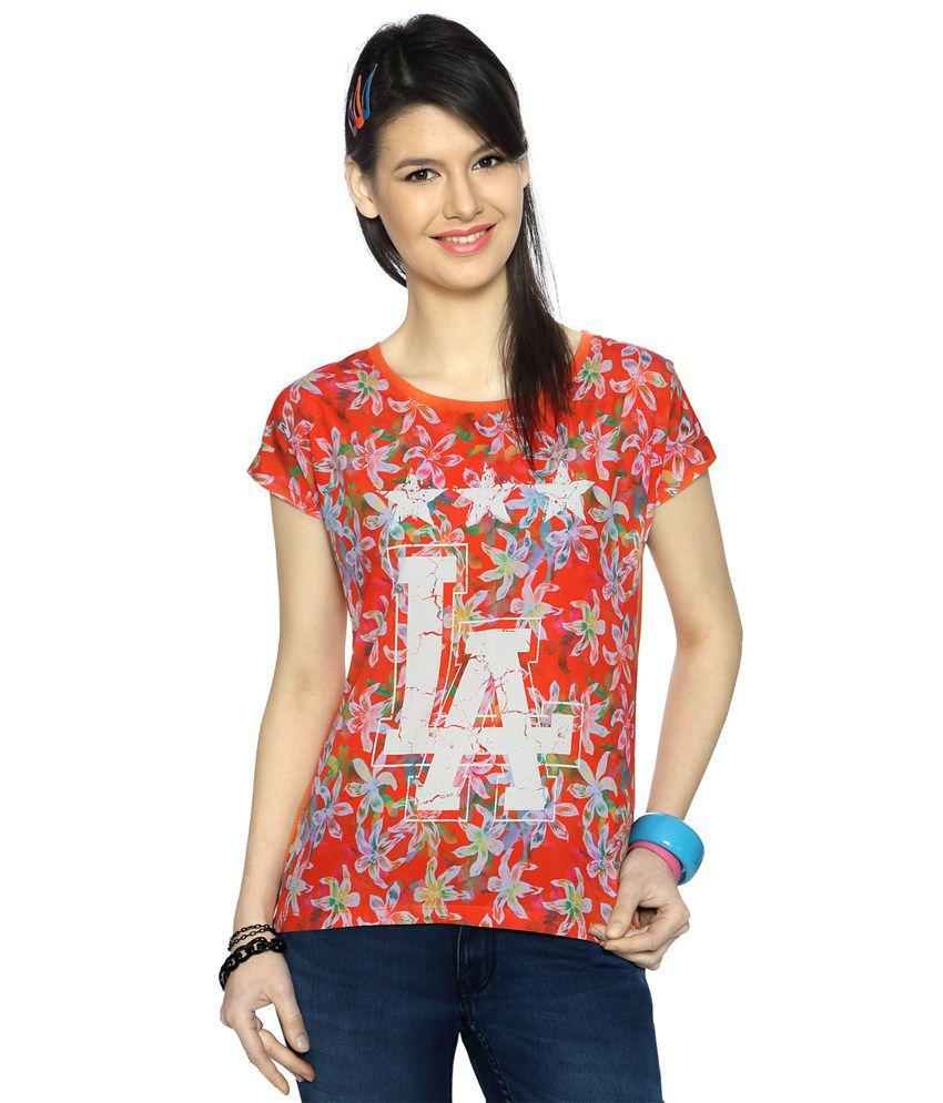 Ajile by Pantaloons Orange Floral Print Activewear T Shirt