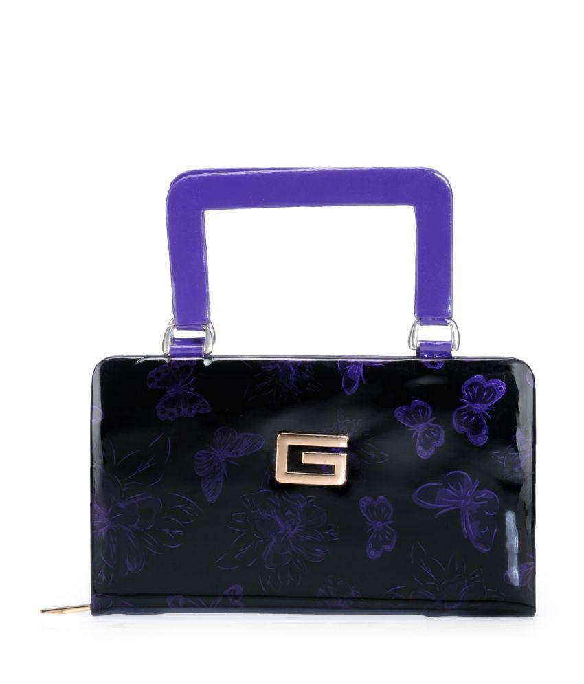 Bags Craze Purple P.U. Zip Clutch
