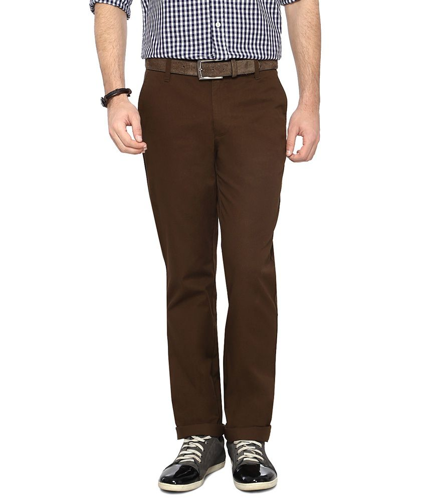 Byford by Pantaloons Brown Slim Fit Flat Front Trousers