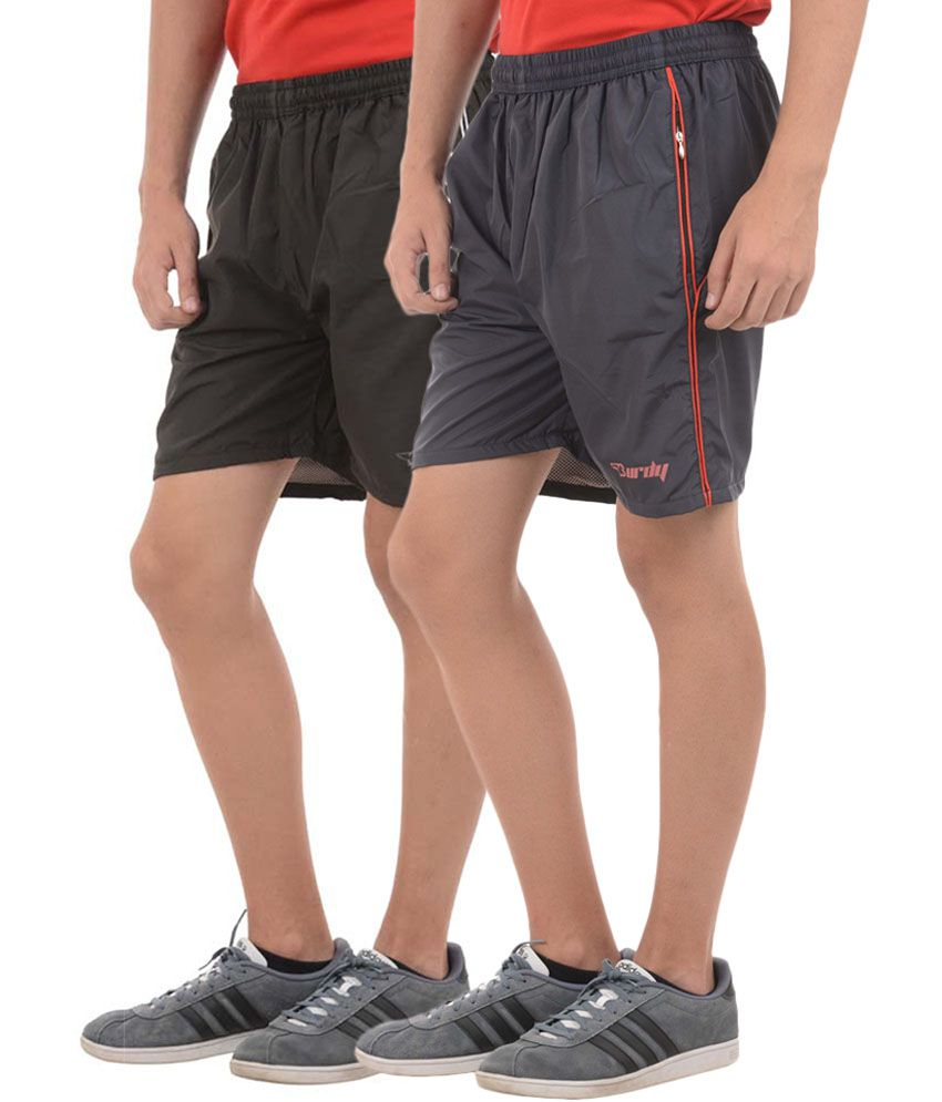 Burdy Casual Polyester Shorts in Black (Pack of 2)