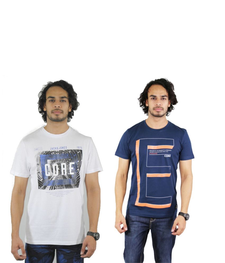 J&J Combo of 2 White and Navy Cotton T-shirts