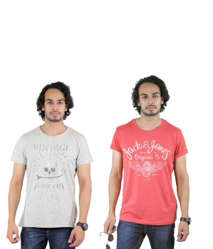 J&J Combo of 2 Grey and Red Cotton T-shirts