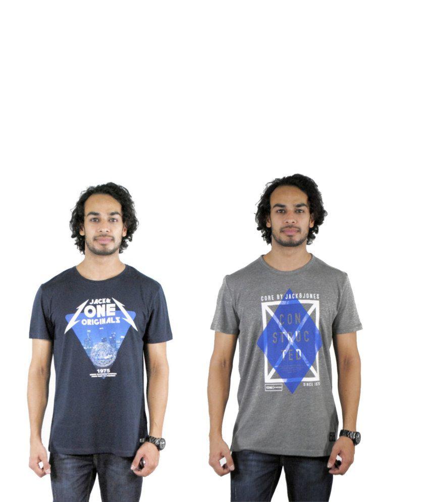 J&J Combo of 2 Gray Cotton T-shirts