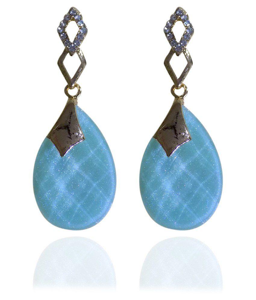 Optionsz Blue Alloy Drop Earrings