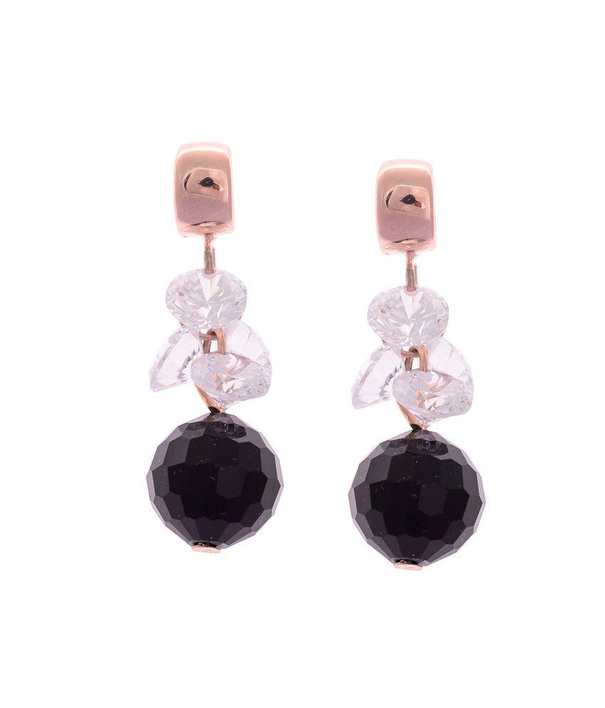 Sparkling Drop Multi Brass Style Diva CZ Designer Hanging| Dangle Earrings