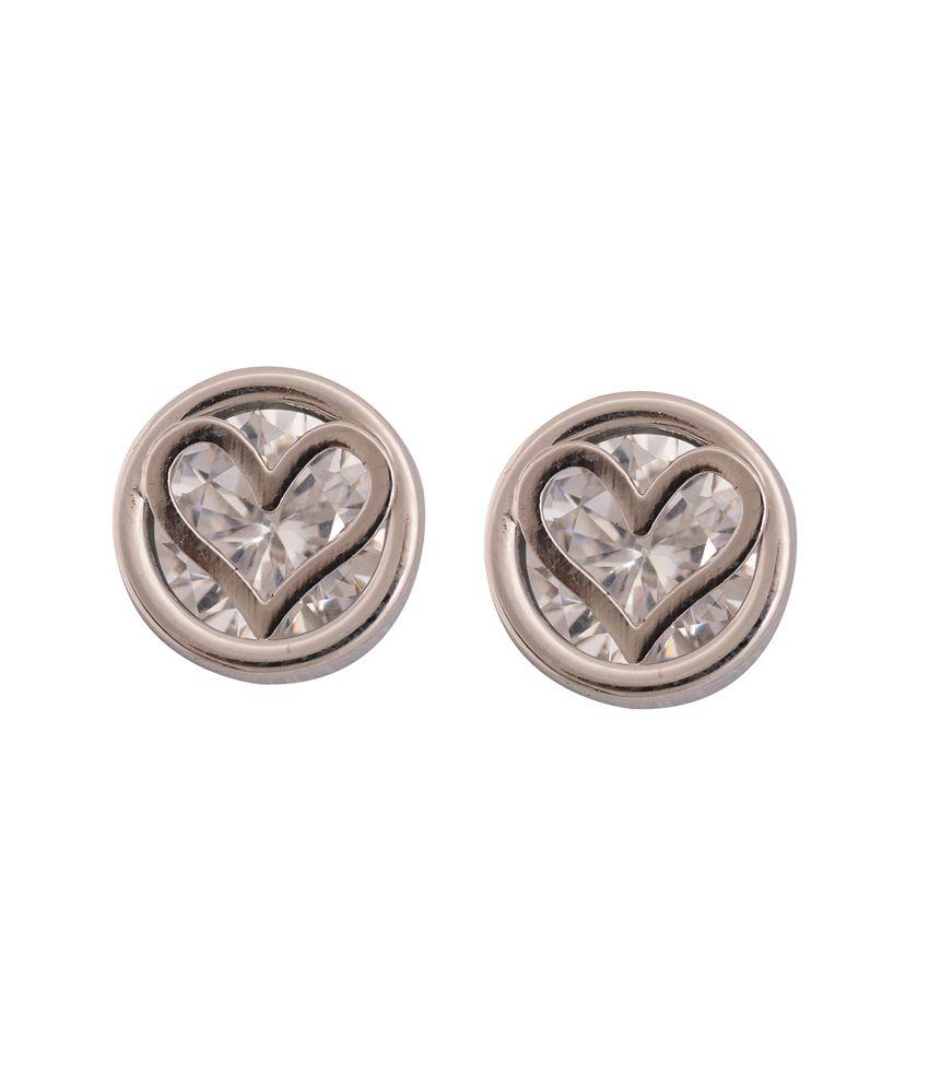Sparkling Drop Silver Brass Style Diva CZ Designer Stud Earrings