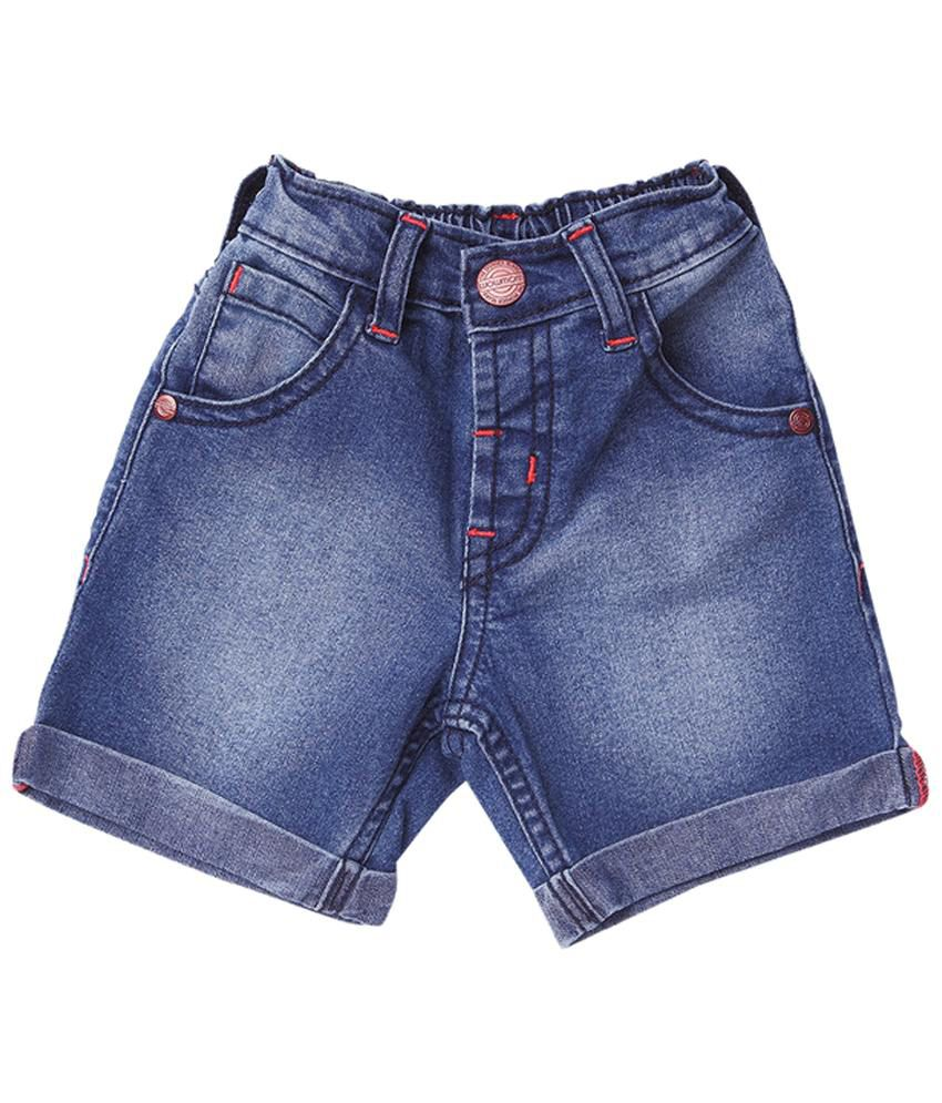 Wow Mom Bright Blue Denim Shorts for Girls