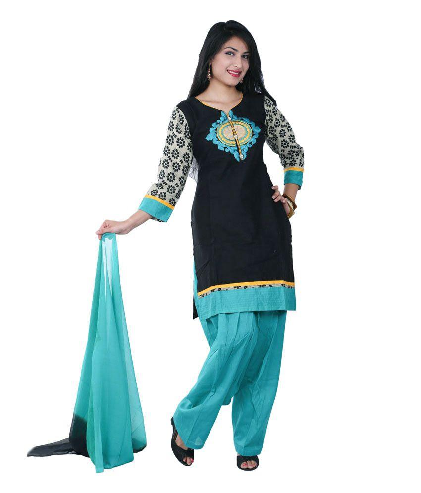Adorn Ethnic Black Cotton Stitched Suit